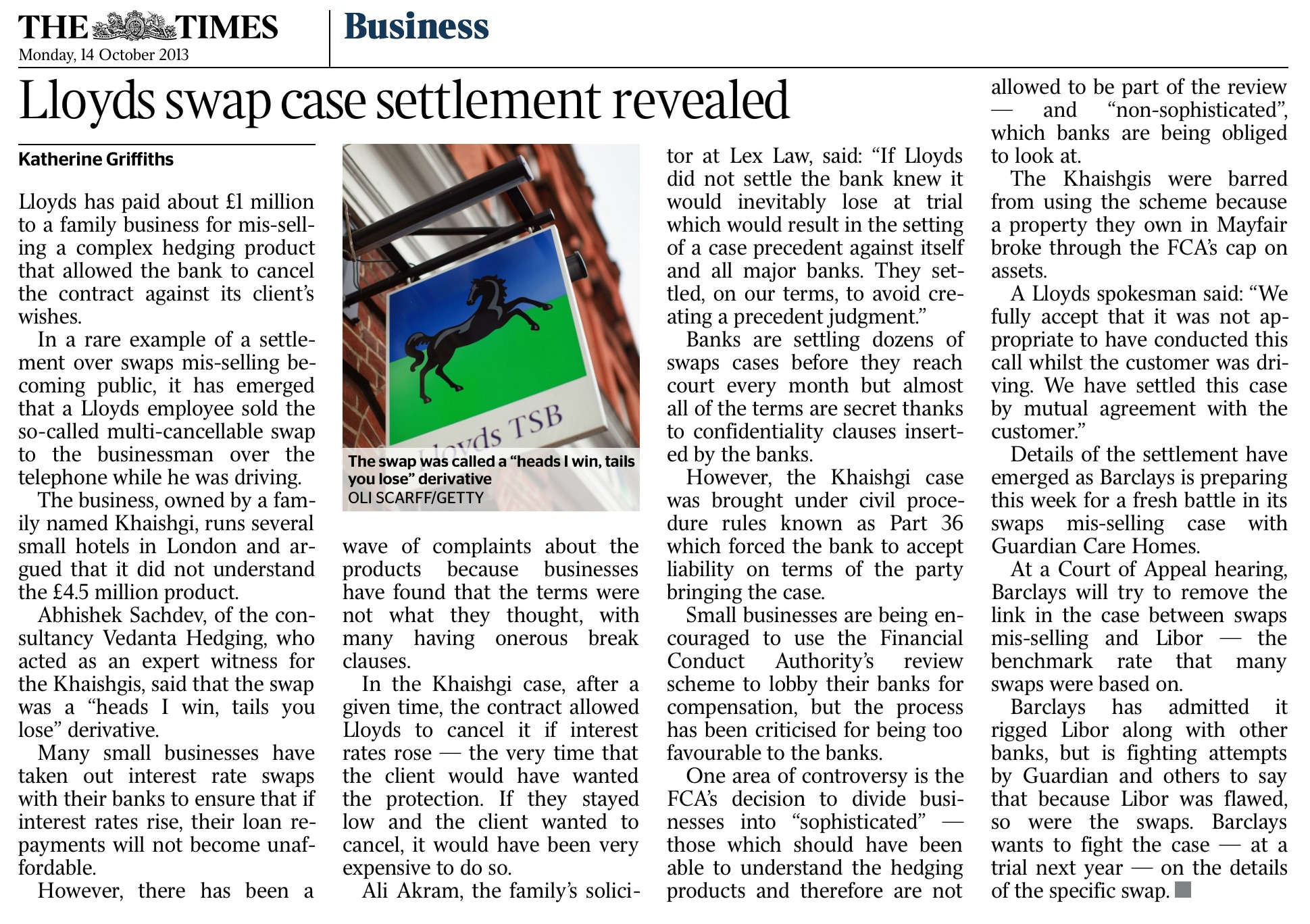 The Times - Lloyds case settlement revealed - LEXLAW Litigation Solicitors & Barristers Bank Swaps Mis-selling
