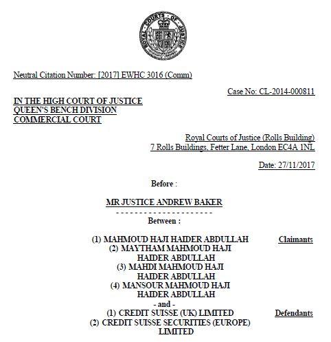 Abdullah-Haider-v-Credit-Suisse-Bank-Litigation-Solicitors-in-London-LEXLAW